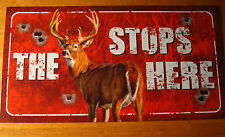 THE BUCK STOPS HERE Deer Hunter Target Hunting Cabin Lodge Home Decor Sign NEW