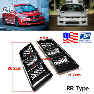 Pair Universal RR Type Hood Vents Scoop Bonnet Air Vents Air Flow Vent Duct -USA