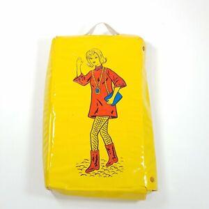 Vintage Yellow Vinyl Barbie Doll Case Vinyl Snap Close Handle Carry
