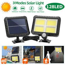 128 LED Solarleuchte Solarlampe mit Bewegungsmelder Außen Fluter Wandstrahler