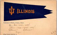 University of Illinois Urbana 1909 College Pennant • Vintage Postcard AA-003