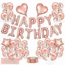 Rose Gold Balloons, 70Pcs Happy Birthday Party Balloons Banner