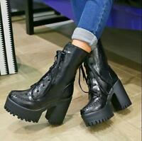 Punk Womens Chunky High Heel Lace Up Platform Ankle Boots British Gothic Shoes S