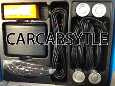 【SILVER Car Parking Reversing 4 Sensors】Rear Kit LED Displayer Buzzer Alarm UK