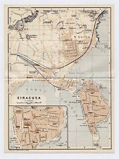 1934 ORIGINAL VINTAGE CITY MAP OF SYRACUSE SIRACUSA / SICILY / ITALY