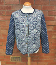 Ladies M&S Marks Spencers Blue Tile Mosaic Printed Quilted Jacket Casual Size 12