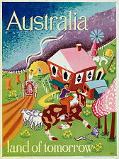 "AUSTRALIA HIGH QUALITY RETRO VINTAGE ""LAND OF TOMORROW"" TRAVEL POSTER PRINT"