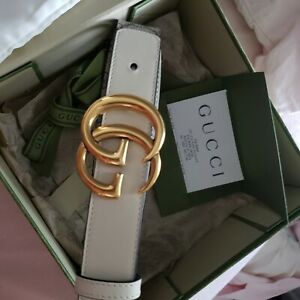 GUCCI Women's Beige Supreme White Leather Belt With Double G Buckle Size 85