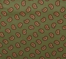 Cotton Chintz Fabric Olive Red White Paisley VIP Cranston By The Yard
