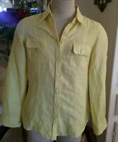 BANANA REPUBLIC Yellow Long Sleeve Button Down Soft Wash Shirt Medium,Linen