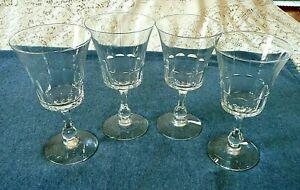 4 Vintage Fostoria Crystal Georgian Wine Glasses Thumbprint- Hard to Find!