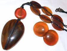 Vintage Designer Carved Horn Pendant Necklace Earrings Unsigned