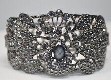 "Peacock Hinged Cuff Bracelet Gunmetal w/ Gray Rhinestones  7"""