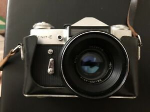 VGC Vintage USSR Zenit E Camera With Helious Lens And Case