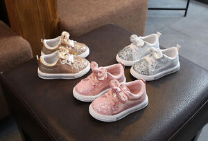 Girls Boys Kids Trainers Shoes Children Toddler Running Shoes Size4.5-11 Glitter