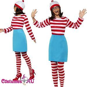 Ladies Wheres Wally Costume 80s Wenda Womens Cartoon Where's Wally Fancy Dress