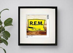 R.E.M - OUT OF TIME  BOX FRAMED ALBULM  ARTWORK PRINT  3 sizes Black or White