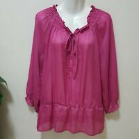 Loft Women's Shirt Blouse Top L Pink Black Polka Dot Drawstring Semi Sheer Long