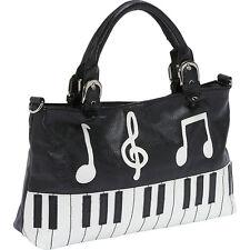 Ashley M Piano Keyboard Handbag - Black Satchel NEW
