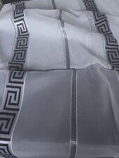 Gardinen Stoffe  Store Vorhangstoffe  Voile Weiss mit Versace Muster in Schwarz