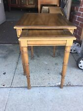 Pair of Walnut Henredon Nesting Tables Faux Bamboo Legs