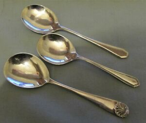 3 X UK HALLMARKED SILVER CADDY / SOUP SPOONS DATED 1912 / 1926 / 1946 65.7 GRAMS