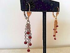 14K GF and Ruby Heart Drop Earrings