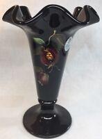 Fenton Art Glass Hand Painted Pomegranates On Black Trumpet Vase