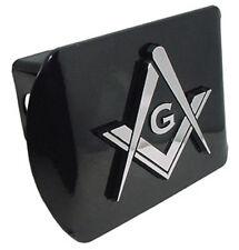 Mason Square and Compass Black Metal Hitch Cover (NEW) Chrome Trailer Cap MVP