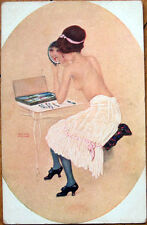 1920 Raphael Kirchner/Artist-Signed Postcard: Nude Woman Puts on Makeup, Mirror