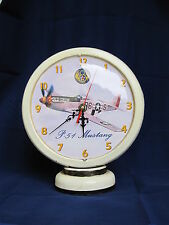 P-51 Mustang Mighty Eighth Gas Pump Uhr Airforce USAF Watch Clock Nose Art Army