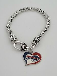Buffalo Bills Football Swirled Heart Charm Dangle Women's Fashion Clasp Bracelet