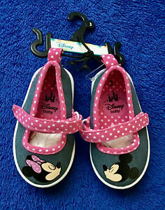 Disney Baby Toddler Minnie Mickey Mouse Sneaker Shoes Size 3 Slip-On Flats NEW