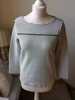 JAEGER Navy Ivory Striped Top Long Sleeve Round Neck Size XS (8/10) Work Office
