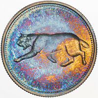 1967 CANADA 25 CENTS SILVER MULTI COLORED MONSTER TONED GEM CHOICE BU UNC (MR)