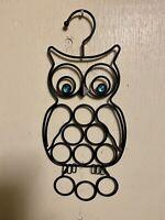 """Vintage Cast Iron Owl Wall Art Hanging w/ Blue Rhinestone Eyes 14""""x 6.25"""""""