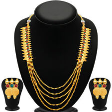 Sukkhi Five Strings Temple Jewellery Gold Plated Necklace Set(2254NGDLPV2000)
