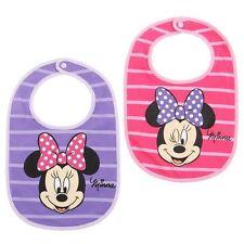 DISNEY BABY  lot de 2 bavoirs bébé MINNIE rose et violet NEUF