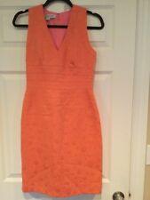 Kay Unger New York Orange Sherbet Sleeveless Shift Dress, Size 4
