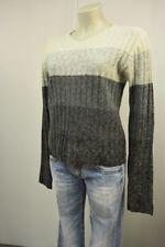 INSCENE Damen Strick Pullover S M Angora Lammwolle Grau  warm TOP