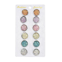 6 Pairs Stainless Steel Shiny Austrian Crystal Round Stud Earrings Jewelry New