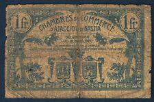 CHAMBRE DE COMMERCE D'AJACCIO & BASTIA 1 FRANC Pirot 3.9 du 12.3.1920 B 384,815