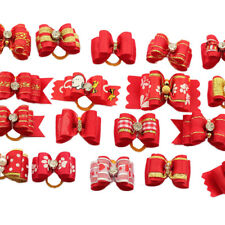 10Pcs Assorted Red Pet Puppy Hair Bows W/Rhinestone Dog Cat Grooming Accessories