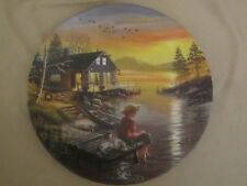 FISHING FOR DREAMS collector plate HIDEAWAY LAKE D.L. Rusty Rust CABIN Lakeside