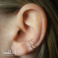 Fake Double Rings Conch Piercing- Sterling Silver Ear Conch- Fake Body Piercing