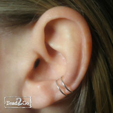 Sterling Silver Double Rings Conch Fake Piercing- Ear Conch- Fake Body Piercing