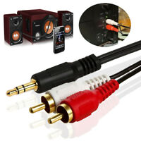 Short 3.5mm 1/8'' Stereo Male Mini Jack to 2 Male RCA Plug Adapter Audio Y Cable