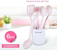 1SET Kitchen Aid 6pcs Ceramic Crock with Pink Tools cooking utensils