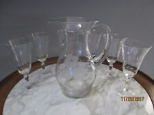 Vintage Floral Glass Liquor Pitcher With Handle And 6 Wine Glass Set