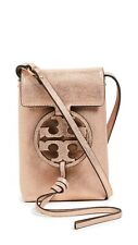NWT $198 TORY BURCH Miller Metallic Leather Mini iPhone Pouch BAG Seashell Pink